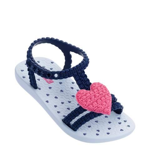 Ipanema Baby Navy/Pink Heart Flip Flops