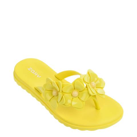Zaxy Kids Yellow Fresh Floral Flip Flops