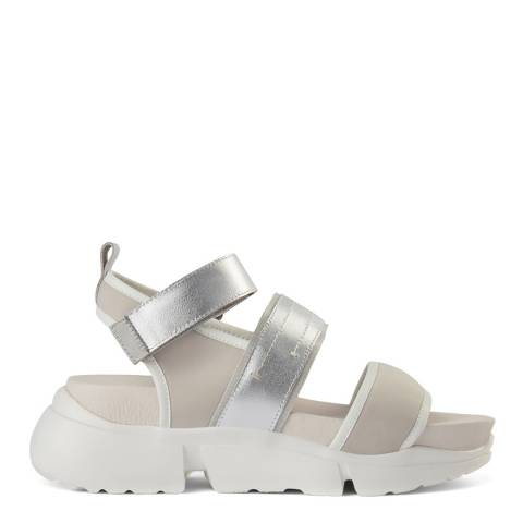 Shoe The Bear Silver Leather Mala Sport Sandal
