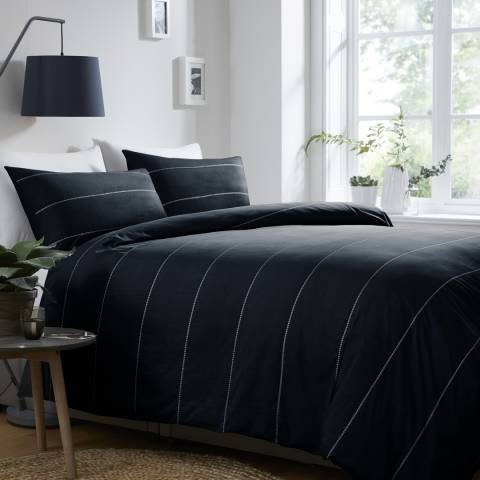 N°· Eleven Salcombe King Duvet Cover Set, Navy/White