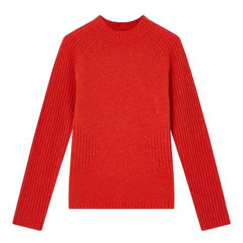 Jigsaw Red Donegal Neat Wool Jumper