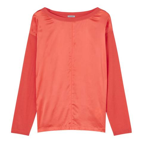Jigsaw Coral Silk Front Knit Top