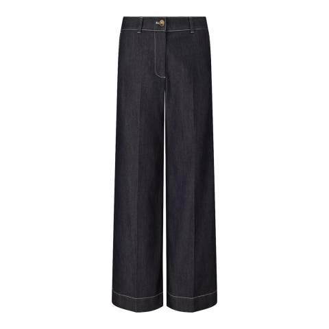 Jigsaw Indigo Denim Wide Stretch Trousers