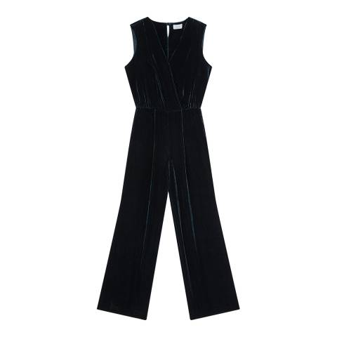 Jigsaw Teal Velvet V Neck Jumpsuit