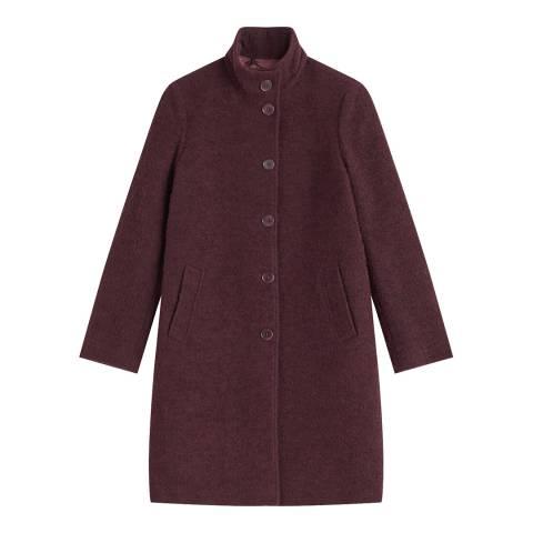 Jigsaw Plum Urban Boucle Wool Blend Coat