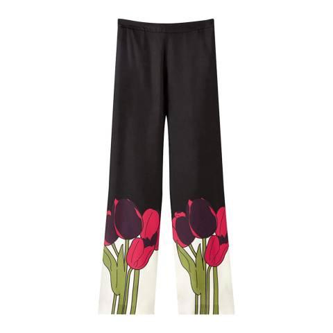 Jigsaw Black/Multi Tulip Silk Trousers
