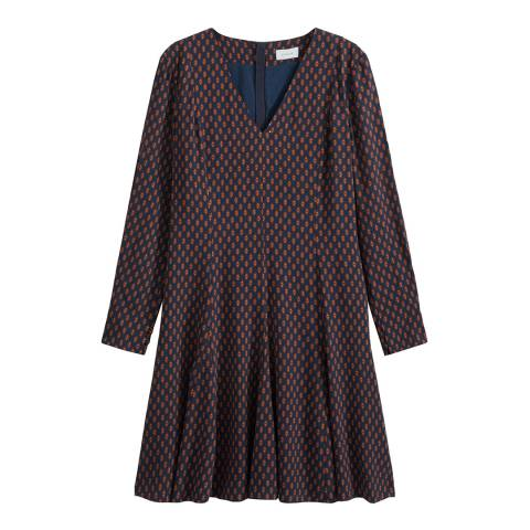 Jigsaw Navy Leaf Spot Fit And Flare Dress