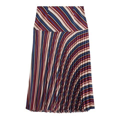 Jigsaw Multi Irregular Stripe Pleated Skirt