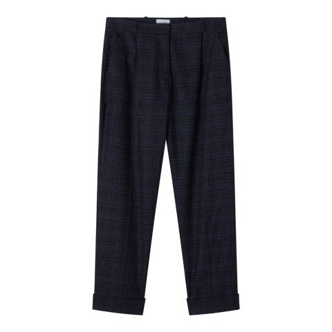 Jigsaw Navy Pleat Check Wool Blend Trousers