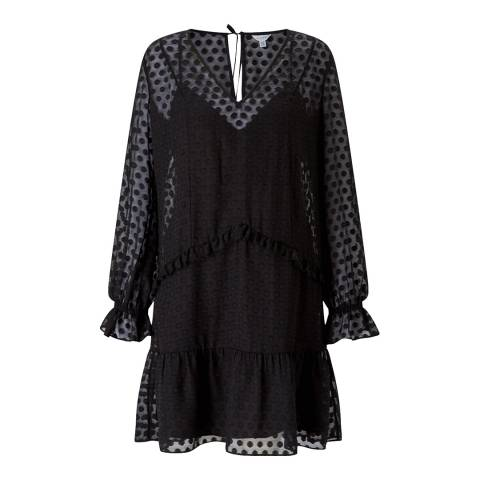 Jigsaw Black Spot Jacquard Dress