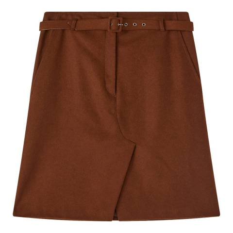 Jigsaw Chestnut Melton Belt Wool Blend Skirt