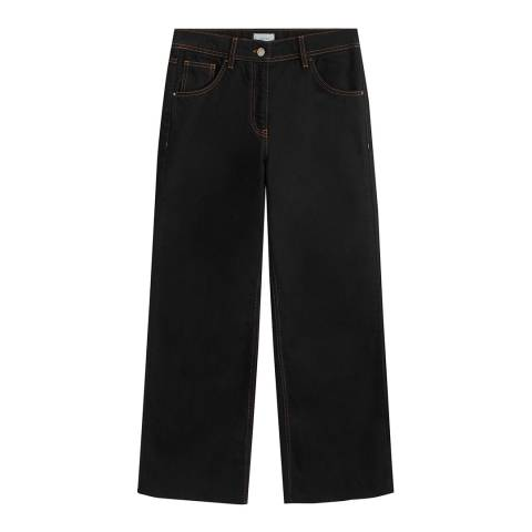 Jigsaw Black Wide Contrast Stitch Cotton Jeans