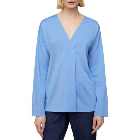 Jigsaw Blue Slinky Stitch Placket Blouse