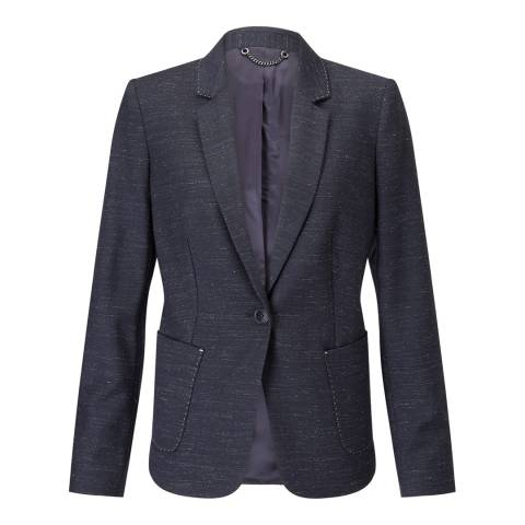 Jigsaw Navy London Marl Wool Blend Jacket