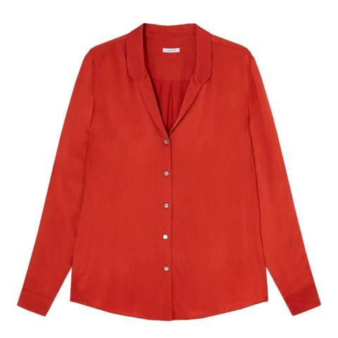 Jigsaw Red Hammered Open Neck Satin Shirt