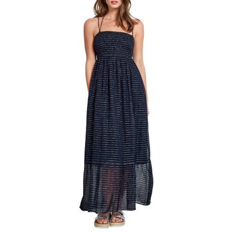 hush Navy Lurex Shirred Dress