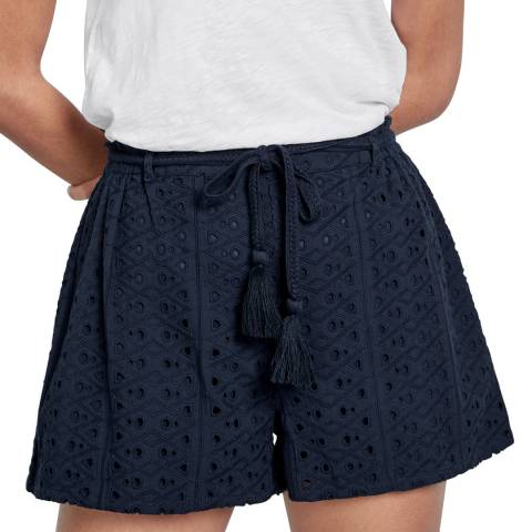 hush Navy Sorella Broderie Shorts