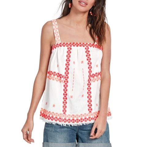 hush White/Pink Bardot Top