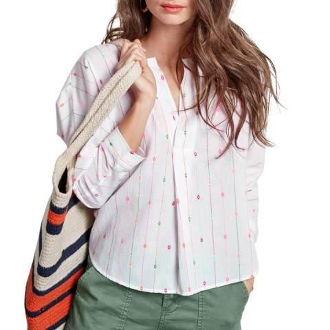 hush White Viviana Embroidered Top
