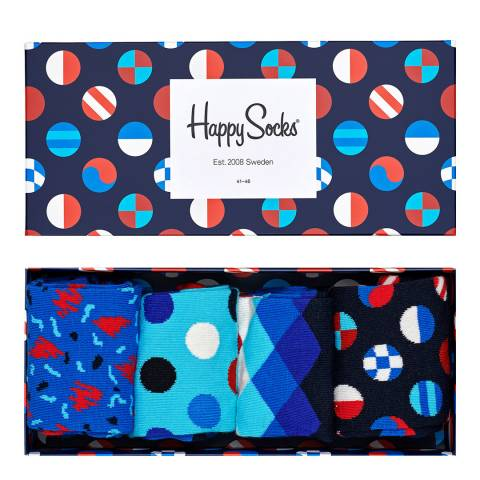 Happy Socks Navy Happy Socks 4 Pack Gift Box