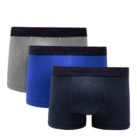 Ted Baker Grey/ Blue/ Navy 3 Pack Cotton Stretch Trunk