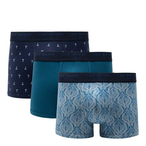 Ted Baker Navy/ Blue 3 Pack Cotton Stretch Trunk