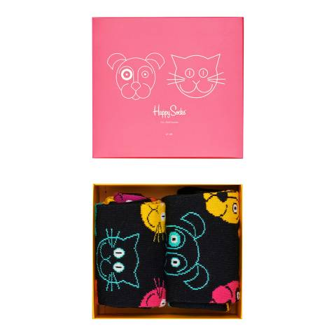 Happy Socks Black Happy Socks 2 Pack Cat/Dog Gift Box
