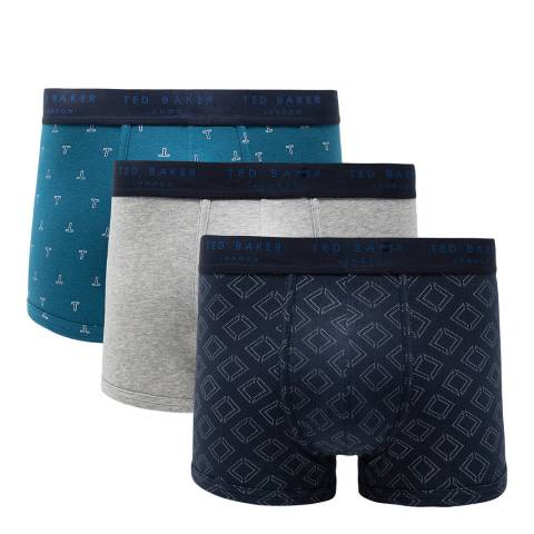 Ted Baker Blue/ Navy 3 Pack Cotton Stretch Trunk