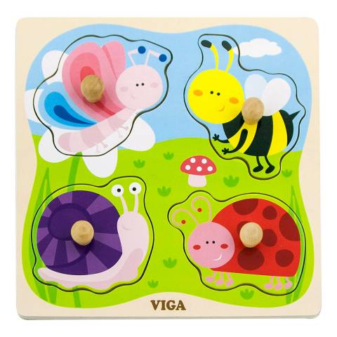 Viga Toys Insect Big Wooden Knob Puzzle
