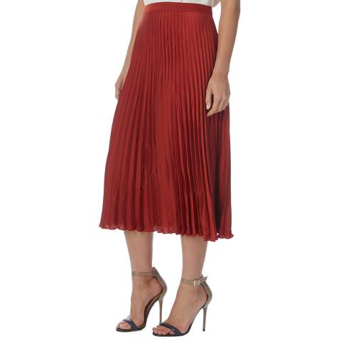 Reiss Red Arisa Pleaded Midi Skirt