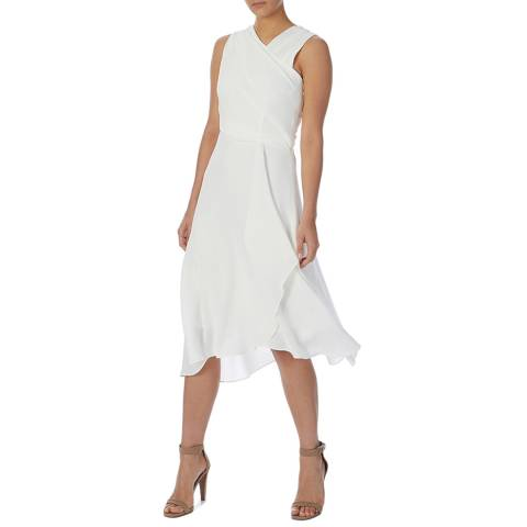 Reiss White Marlinne Wrap Front Dress