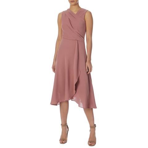 Reiss Blush Marlinne Wrap Front Dress