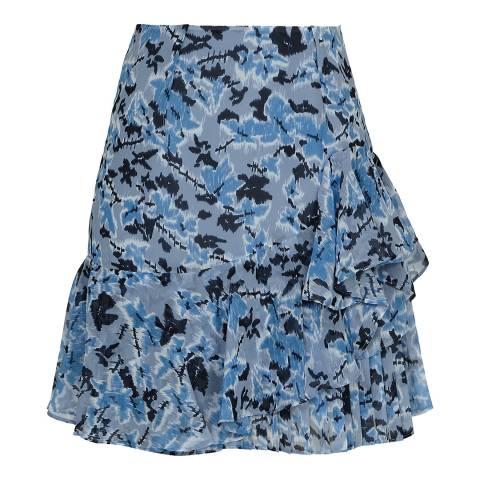 Reiss Blue Lyon Printed Mini Skirt