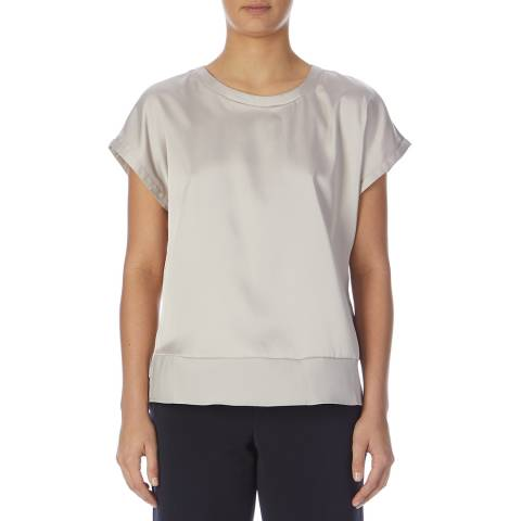 Reiss Silver Elissandra Button Back Top