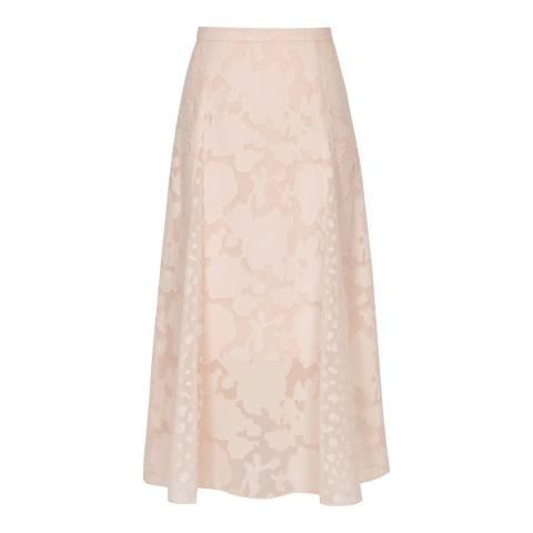 Reiss Pink Chloe Burnout Pleated Skirt