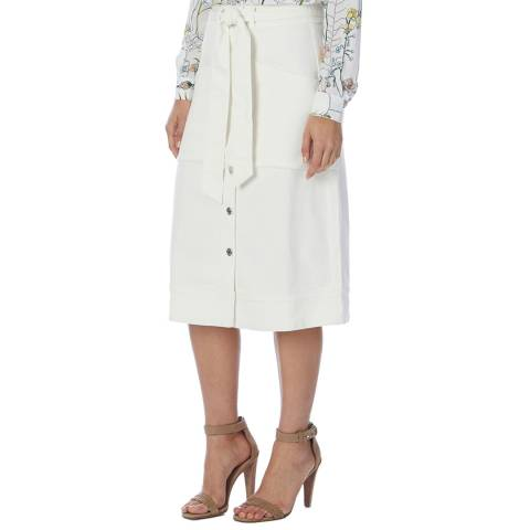 Reiss White Belle Denim Midi Skirt