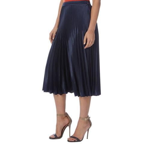 Reiss Navy Dora Pleated Skirt