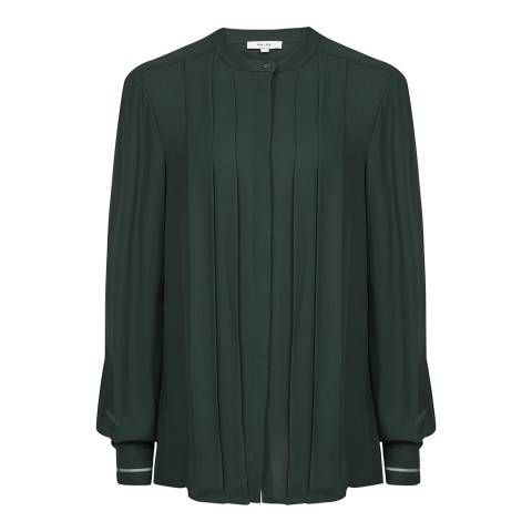 Reiss Dark Green Nicole Pleat Shirt