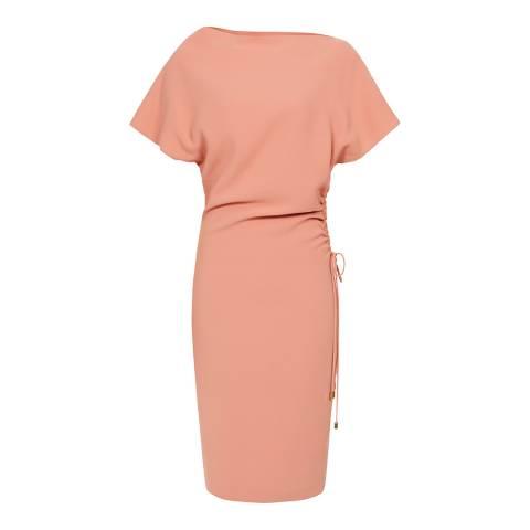 Reiss Peach Marcia Slash Neck Dress