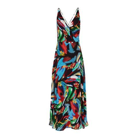 Reiss Black Leona Painterly Print Maxi Dress