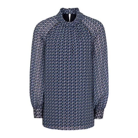 Reiss Blue Tatiana Diamond Print Blouse