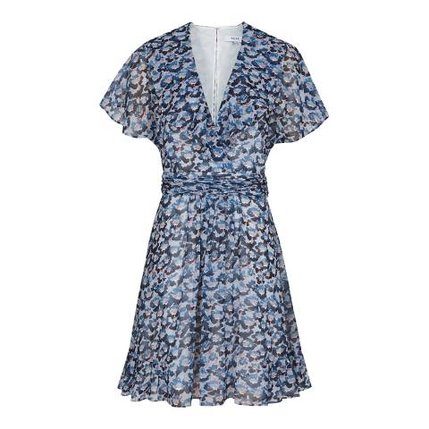 Reiss Blue Amy Brisa Print Dress