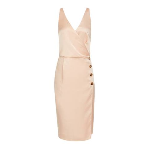 Reiss Peach Peppa Button Cocktail Dress