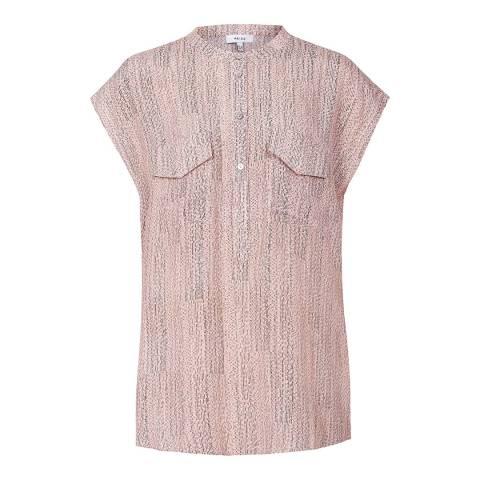 Reiss Pink Arabella Static Print Blouse