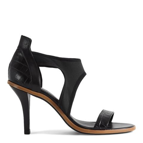 Reiss Black Snake Leather Mix Heels