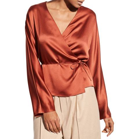 Vince Rust Silk Wrap Blouse