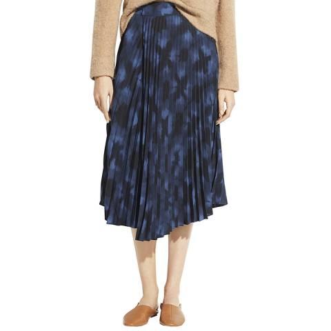 Vince Navy Tie Dye Pleated Skirt