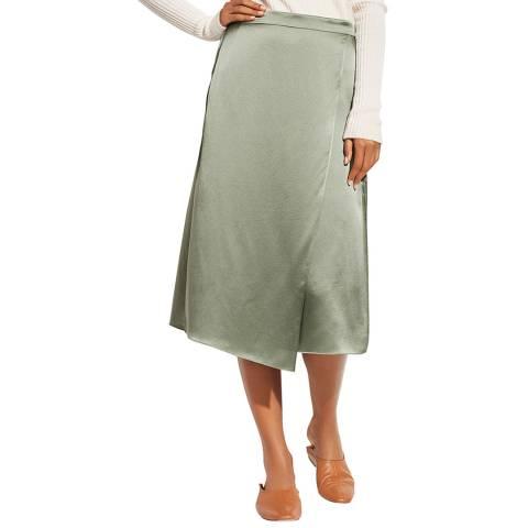 Vince Mint Drape Panel Silk Skirt