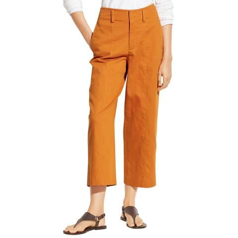 Vince Orange Wide Cotton Blend Trousers