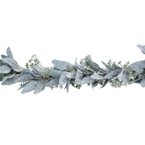 Gisela Graham Frosted Eucalyptus Leaf Garland with Mini Berries